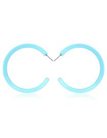 Fashion Light Blue Big Circle Earrings