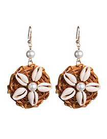 Fashion Brown Pearl Shell Inlaid Woven Earrings