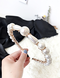 Fashion White Alloy Diamond Irregular Pearl Headband