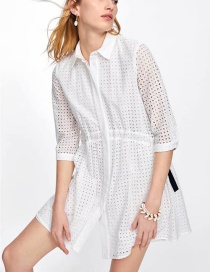 Fashion White Bow Embroidered Dress