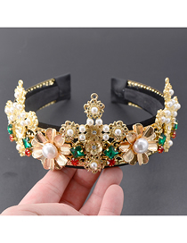 Fashion Gold Porcelain Flower Cross Crown Headband