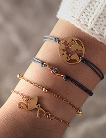 Fashion Gold Map Flamingo Rice Beads Braided Rope Five-piece Bracelet