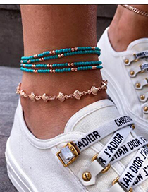 Fashion Blue Pattern Beaded Shell Anklet 5 Piece Set