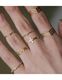 Fashion Gold V-shaped Hollow Three-layer Ring Set Of 11