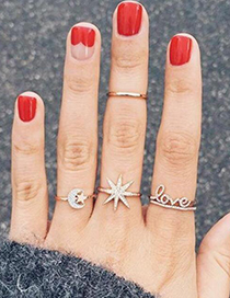 Fashion Gold Size Star Moon Letter Ring 4 Piece Set