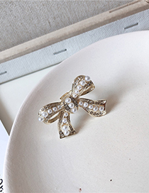Fashion Bow Bow Pearl Studded Open Ring