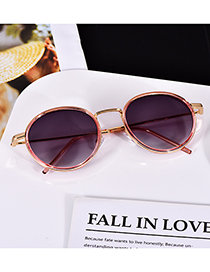Fashion Pink Alloy Resin Round Sunglasses