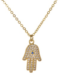 Fashion Gold Copper Inlay Zircon Palm Necklace