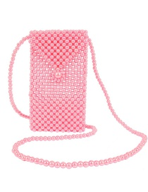 Fashion Pink Woven Beaded Evening Bag