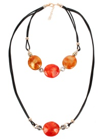 Fashion Orange Two-color Shaped Bead Sweater Chain