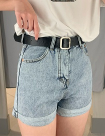 Fashion Blue Belt Denim Cuffed Shorts