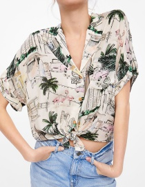 Fashion Color Printed Knotted Shirt