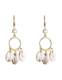 Fashion 3 Shells Circle Shell Earrings