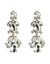 Fashion White Multi-layer Acrylic Diamond Earrings