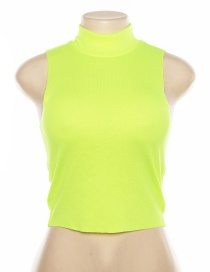 Fashion Fluorescent Green High Neck Sleeveless Short Vest