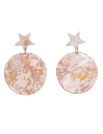 Fashion Pink Resin Star Stud Earrings