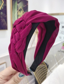 Fashion Rose Red Cloth Handmade Twist Side Knotted Wide-brimmed Headband