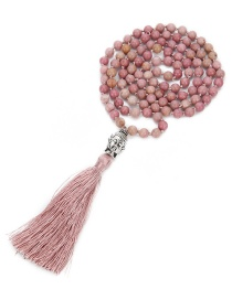 Fashion Leather Powder 6mm 108 Beaded Natural Red Stone Round Beads Buddha Head Tassel Necklace