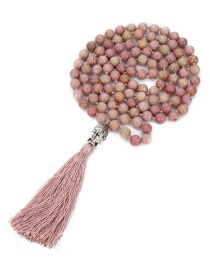 Fashion Leather Powder 8mm 108 Beaded Natural Red Stone Round Beads Buddha Head Tassel Necklace