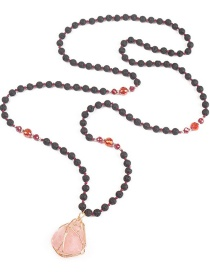Fashion Pink Natural Stone Irregular Crystal Necklace