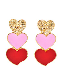 Fashion Red Alloy Red Three Love Earrings