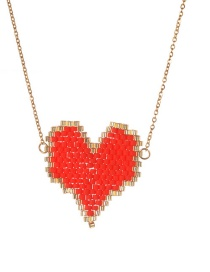 Fashion Red Weaving Love Heart Plated Gold Necklace