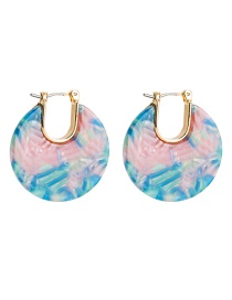 Fashion Color Stitching C-shaped Earrings