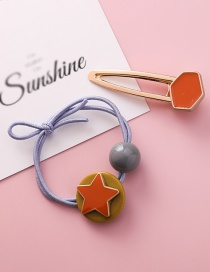 Fashion Red Five-pointed Star Hair Ring Hair Clip Two-piece