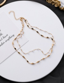 Fashion Gold Pearl Leaf Chain Double Necklace