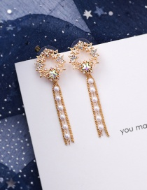 Fashion Gold 925 Silver Pin Tassel Crystal Five-pointed Star Diamond Pearl Stud Earrings