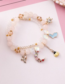 Fashion White Cartoon Rabbit Ladybug Crystal Agate Stone Double Beaded Bracelet