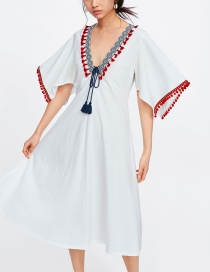 Fashion White Stitching Fringed Embroidered Dress