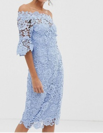Fashion Blue One-shoulder Lace Dress