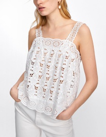 Fashion White Openwork Embroidery Straight Collar Strap Shirt