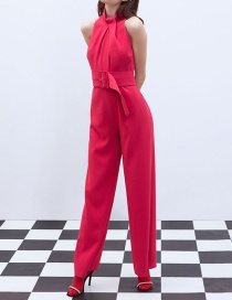 Fashion Red Belted Jumpsuit
