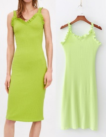 Fashion Green Laminated Decorative Texture Dress