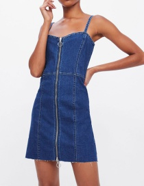 Fashion Navy Blue Zipper Denim Dress