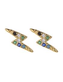 Fashion Gold Copper Inlaid Zircon Lightning Stud Earrings