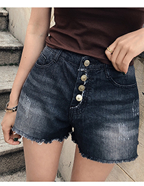 Fashion Black Pentagram Copper Buckle Denim Shorts