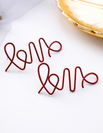 Fashion Wine Red Irregular Hollowed Out Letters Love Line Earrings