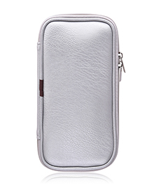 Fashion Silver Leather Cosmetic Bag