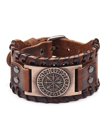 Fashion Ancient Red Copper Viking Pirate Compass Wide Leather Bracelet