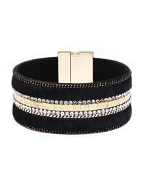 Fashion Black Leather Alloy Magnetic Buckled Diamond Bracelet