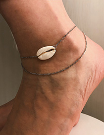 Fashion Silver Natural Shell Multi-layered Anklet