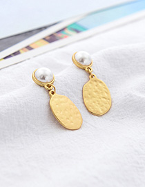 Fashion Gold Hollow Geometric Pearl Alloy Stitching Earrings
