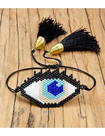 Fashion Black Eyes Rice Beads Woven Bracelet