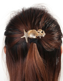 Fashion H54 Gold Starfish Shell Large Spring Clip