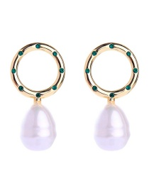 Fashion Gold Geometric Circle With Diamond Stud Earrings