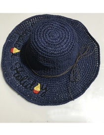 Fashion Navy Woven Foldable Straw Hat