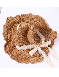 Fashion Khaki Big Hat With Bow And Foldable Sun Hat